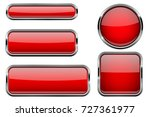 red buttons set. glass icons... | Shutterstock .eps vector #727361977