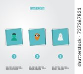flat icons character  halloween ... | Shutterstock .eps vector #727367821