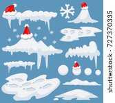 snow cap  snowflake  snowball... | Shutterstock .eps vector #727370335