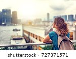 ourist woman on background of a ... | Shutterstock . vector #727371571