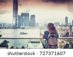 tourist woman on background of...   Shutterstock . vector #727371607