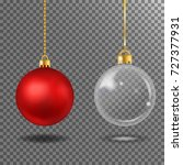 christmas realistic red ball...   Shutterstock .eps vector #727377931