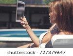 sexy brunette caucasian woman... | Shutterstock . vector #727379647