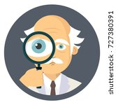 scientist holding magnifying... | Shutterstock .eps vector #727380391