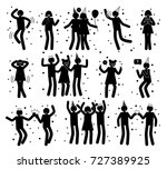 celebration poses collection of ... | Shutterstock .eps vector #727389925