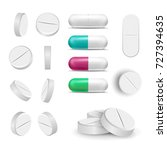 capsule pills and drugs set... | Shutterstock .eps vector #727394635