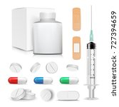capsule pills and drugs set... | Shutterstock .eps vector #727394659