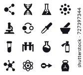 16 vector icon set   molecule ... | Shutterstock .eps vector #727397344