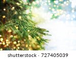 Stock photo closeup of christmas tree 727405039