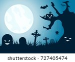 halloween background  horror... | Shutterstock .eps vector #727405474