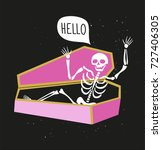 funny skeleton in the coffin... | Shutterstock .eps vector #727406305