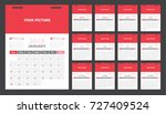 calendar for 2018 white and red ... | Shutterstock .eps vector #727409524