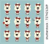 set of charming little polar... | Shutterstock .eps vector #727421269