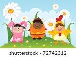 fun children wearing easter... | Shutterstock .eps vector #72742312