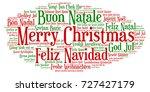 words cloud  merry christmas in ... | Shutterstock .eps vector #727427179