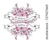 flower ribbon of sakura.... | Shutterstock .eps vector #727427665