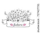 flower ribbon of sakura.... | Shutterstock .eps vector #727427731