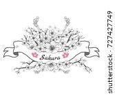 flower ribbon of sakura.... | Shutterstock .eps vector #727427749
