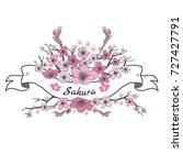 flower ribbon of sakura.... | Shutterstock .eps vector #727427791