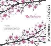 sakura branch with sweet pink... | Shutterstock .eps vector #727427821