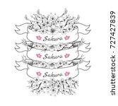 flower ribbon of sakura.... | Shutterstock .eps vector #727427839