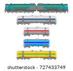 flat  railway locomotive  and ... | Shutterstock . vector #727433749