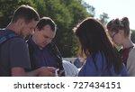 happy friends watching photos... | Shutterstock . vector #727434151