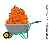 wheelbarrow halloween. bunch of ... | Shutterstock .eps vector #727436599