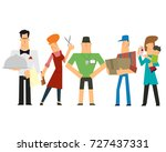 labor day. a group of people of ... | Shutterstock .eps vector #727437331