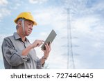 engineer inspecting the high... | Shutterstock . vector #727440445