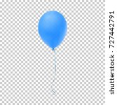 realistic blue balloon isolated ... | Shutterstock .eps vector #727442791