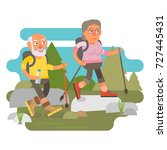 elderly couple hiking  active... | Shutterstock .eps vector #727445431