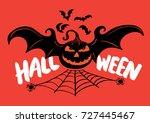 halloween with bats. vector... | Shutterstock .eps vector #727445467