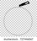 sign cut here  with cutter  at... | Shutterstock .eps vector #727446067
