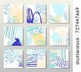 set of 6 ink brush pattern ... | Shutterstock .eps vector #727447669