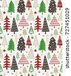 christmas seamless pattern with ... | Shutterstock .eps vector #727451029