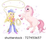 cowgirl lasso and pony | Shutterstock . vector #727453657