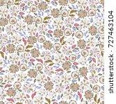 floral vector seamless pattern...   Shutterstock .eps vector #727463104
