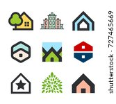 vector buildings and houses.... | Shutterstock .eps vector #727465669