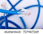 lan network connection blue... | Shutterstock . vector #727467169