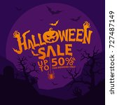 halloween sale  design template ... | Shutterstock .eps vector #727487149