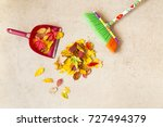 cleaning dry autumn leaves from ...   Shutterstock . vector #727494379
