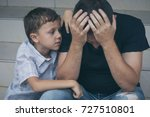 portrait of young sad little... | Shutterstock . vector #727510801