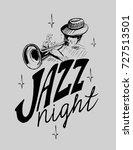 jazz emblem with a trumpeter... | Shutterstock .eps vector #727513501