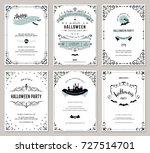 set of 6 halloween cards.... | Shutterstock .eps vector #727514701