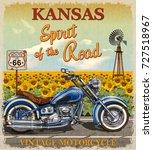vintage route 66 kansas... | Shutterstock .eps vector #727518967
