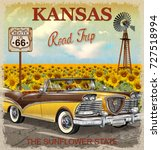 vintage kansas road trip poster.   Shutterstock .eps vector #727518994