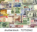 Stock photo banknotes from different countries overlapping each other 72752062
