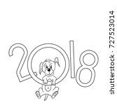 the puppy enjoys the new year.... | Shutterstock .eps vector #727523014