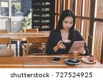 women work in asia and drink... | Shutterstock . vector #727524925